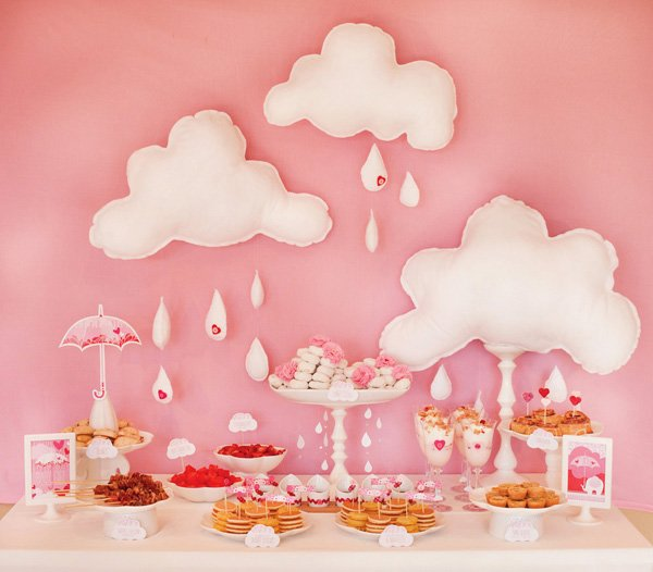 pink baby shower brunch buffet