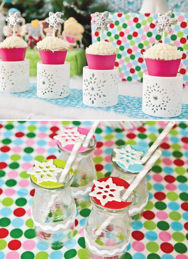 Snowflake cupcake & drink toppers