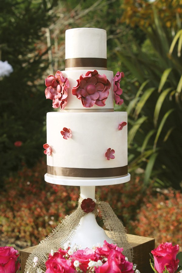 Burgundy flower three tiered cake