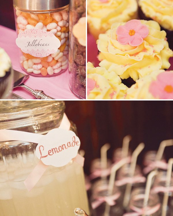 yellow lemonade and cupcakes