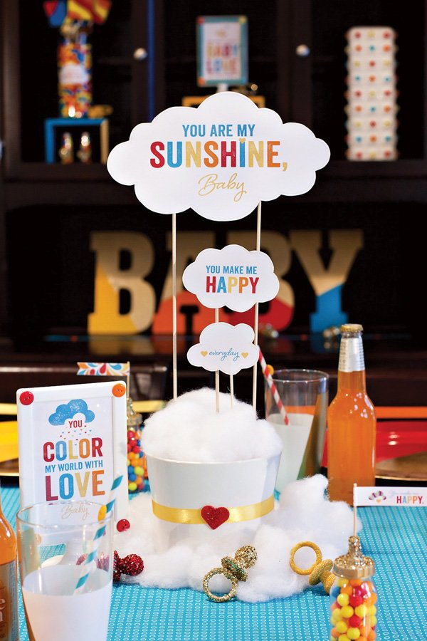 retro rainbow baby shower centerpiece