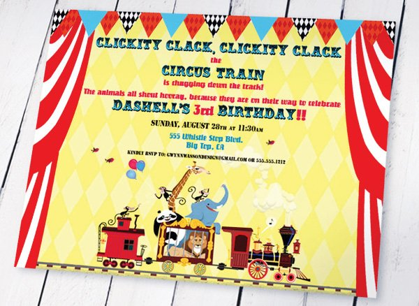 circus train party invitation