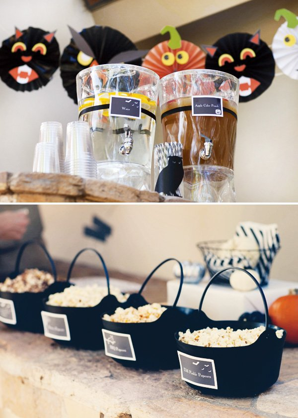 halloween drinks and popcorn bar