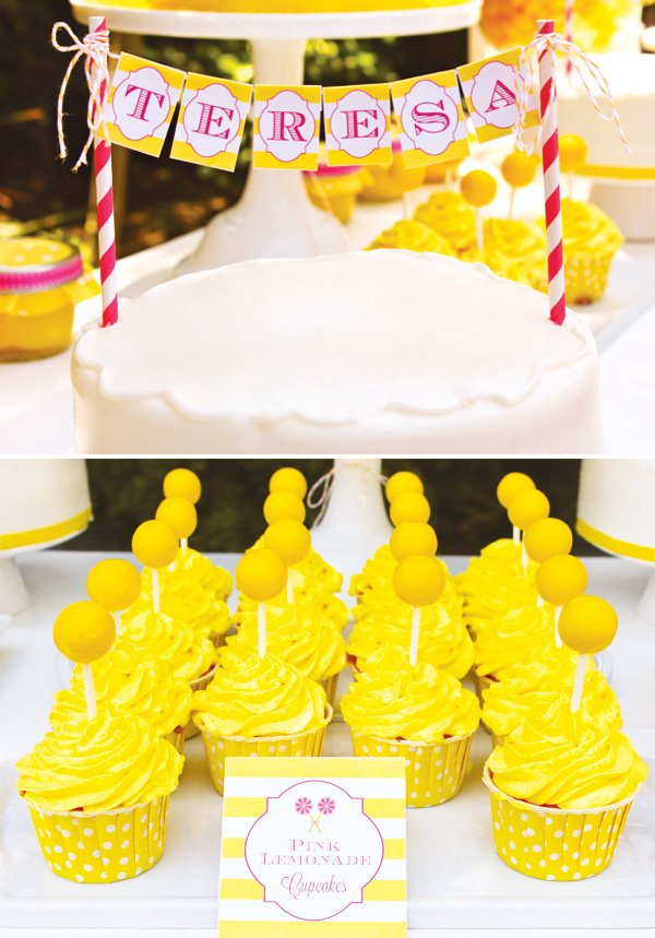 Lemonade theme birthday cake and cupcakes
