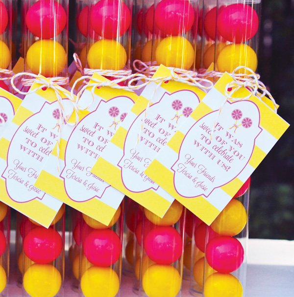 yellow striped favor tags