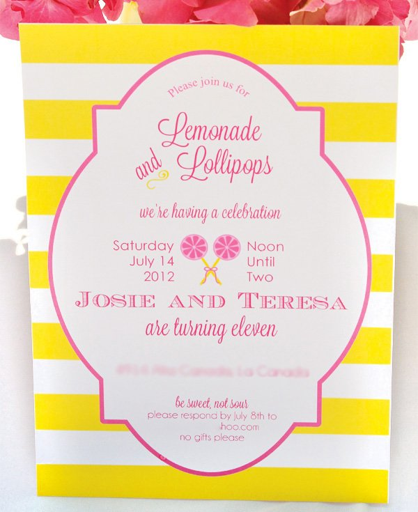 lemonade and lollipop shoppe invitation