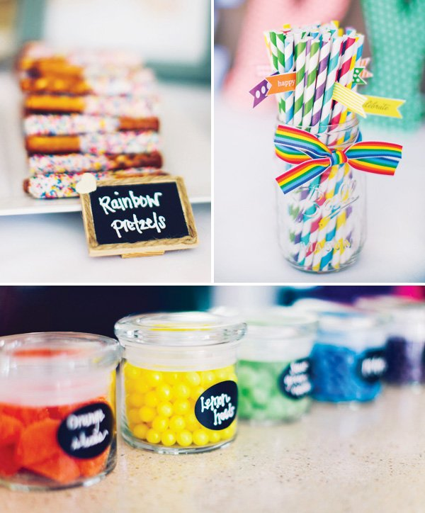 rainbow party straws and treats