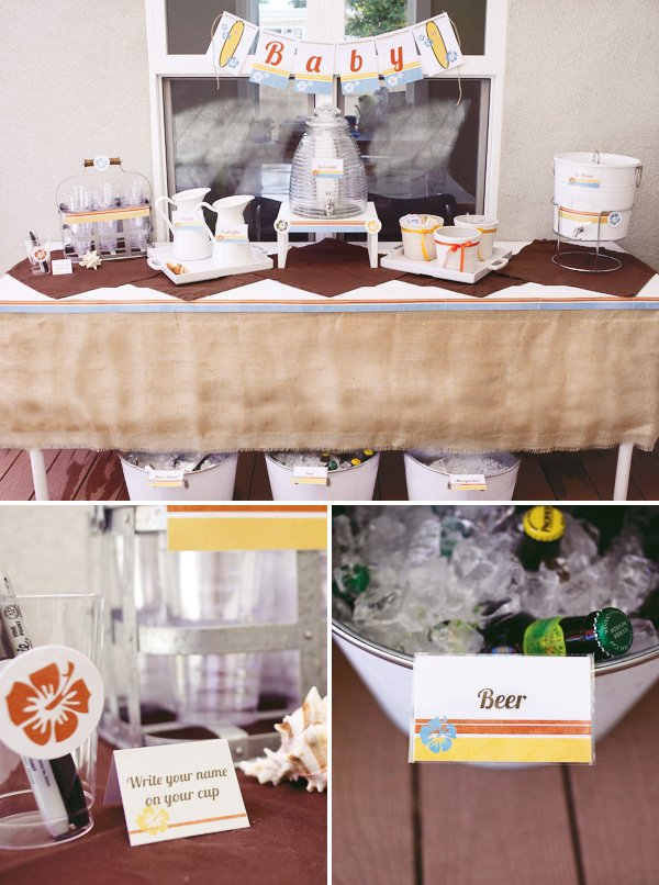 surf baby shower beverage station