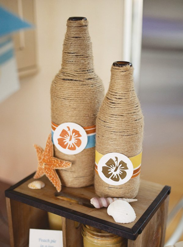 surf party twine bottles