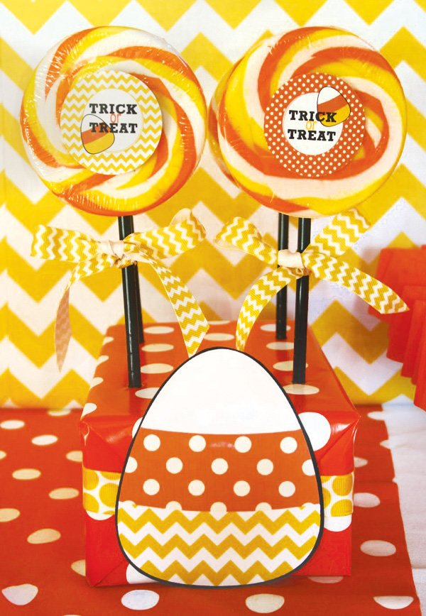 trick or treat candy corn lollipops