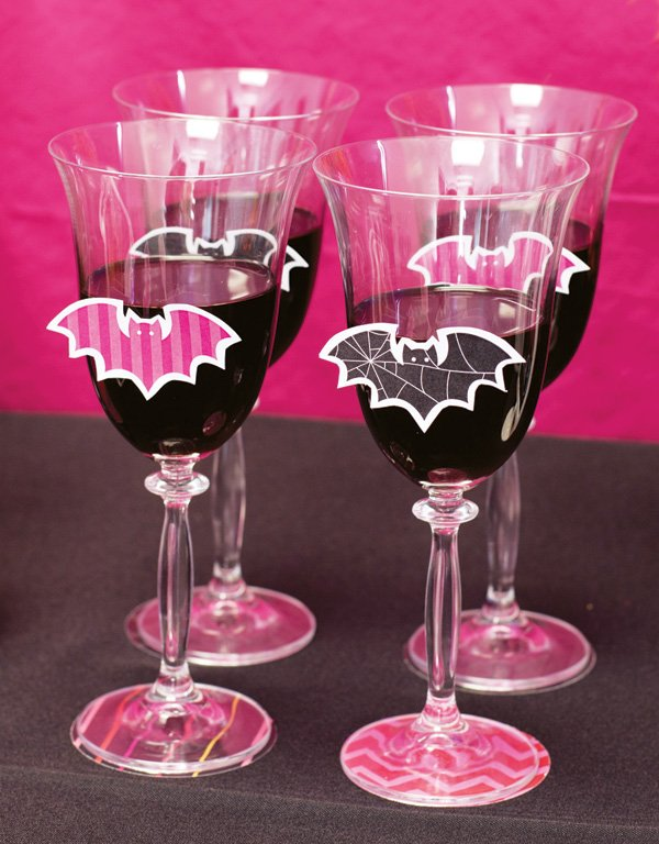 bat silhouettes on wine glasses