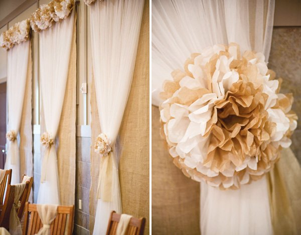beige floral tissue poms