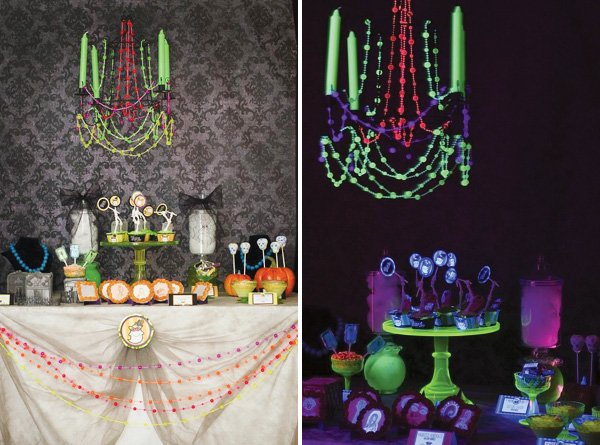 black light halloween table