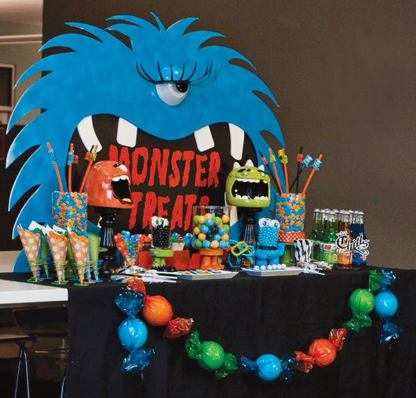 scary blue monster candy buffet backdrop