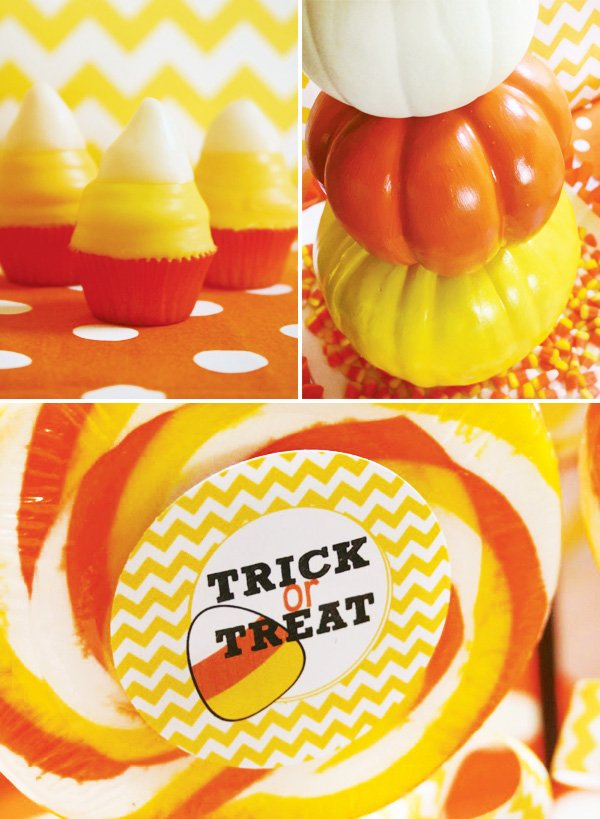 candy corn pumpkin topiaries