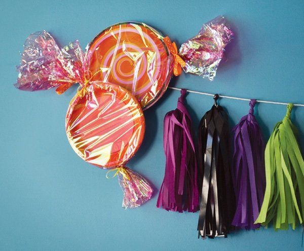 candy wrapper wall decorations & Whimsical Halloween Candyland // Hostess with the Mostess®
