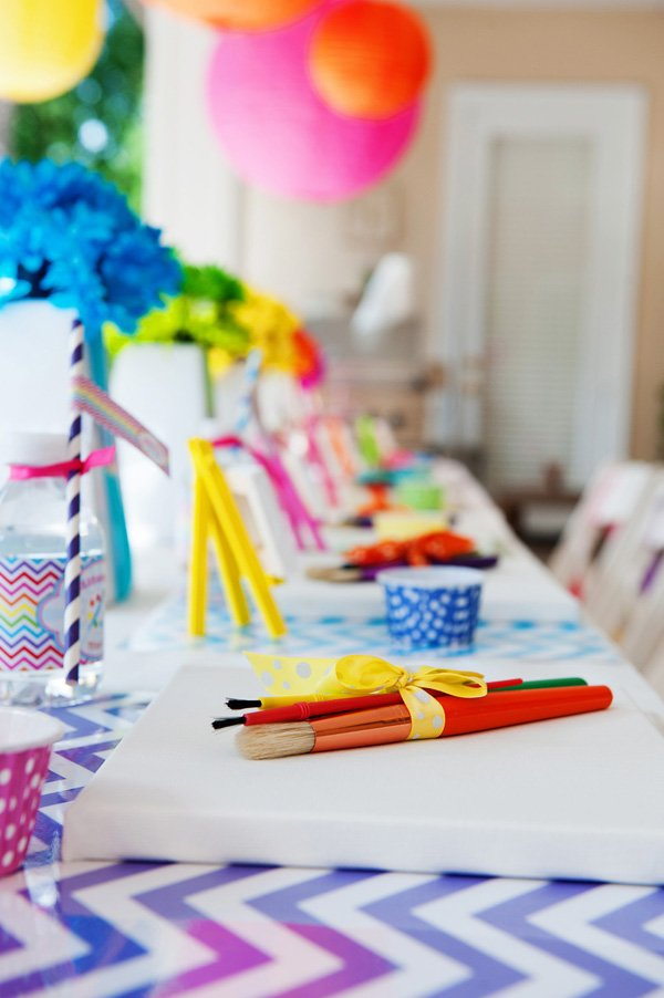 Rainbow chevron arts and crafts party hostess with for Arts and crafts party