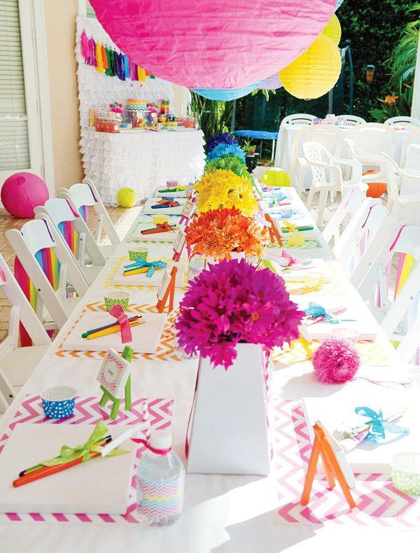 chevron rainbow arty party tablescape