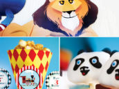 panda and lion circus animals