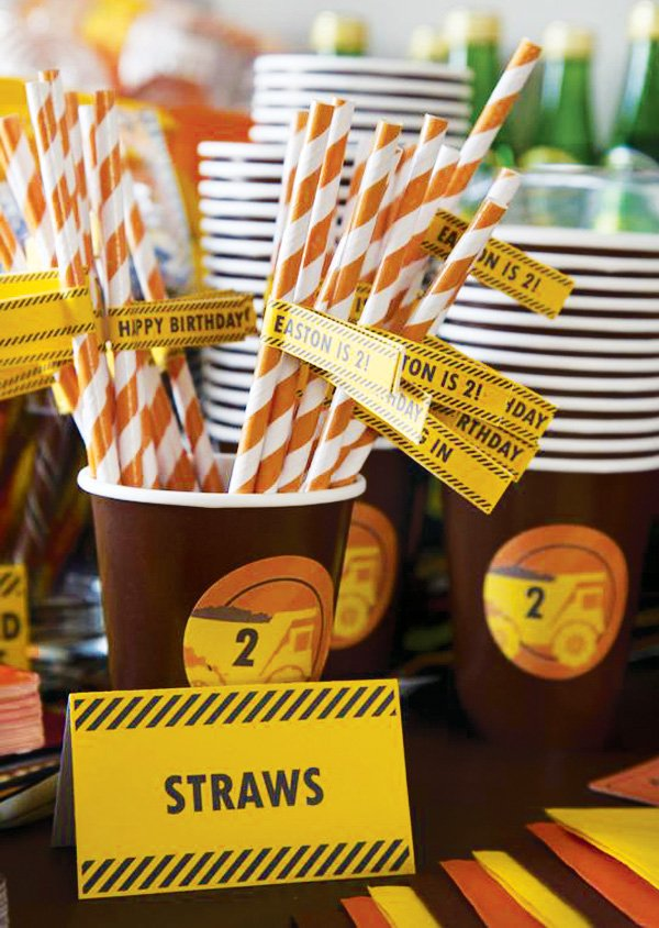 construction theme striped straws