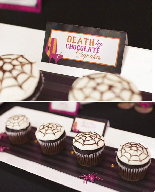 death by chocolate spider web cupcakes