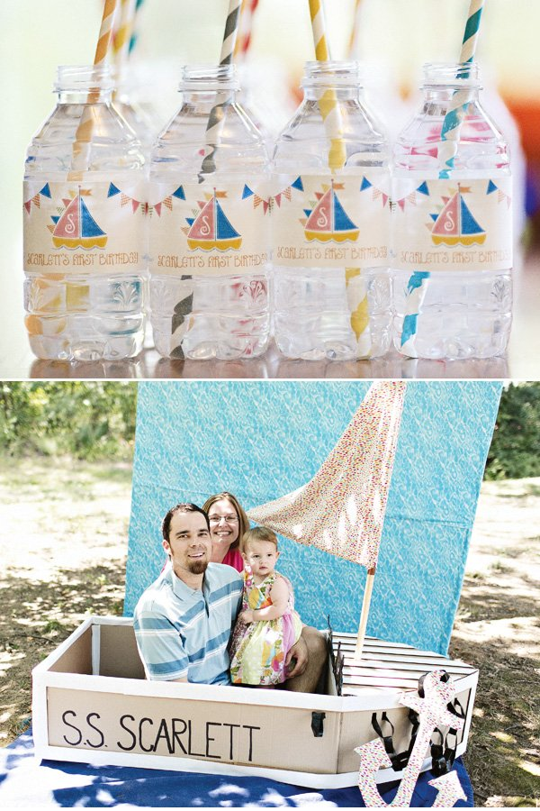 diy cardboard boat first birthday photo booth