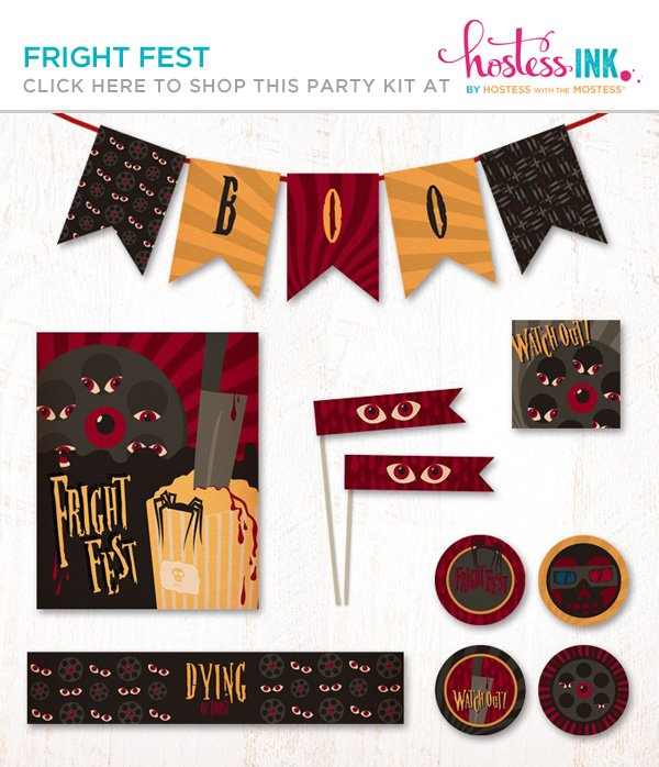 fright fest halloween party printables collection from hostess ink