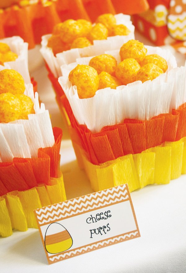 candy corn crepe paper cheese puffs