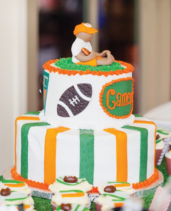 hurricane cake with fondant footballs