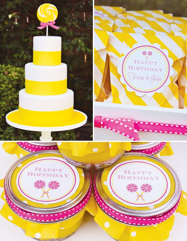 Lollipop cake and yellow and pink party favors