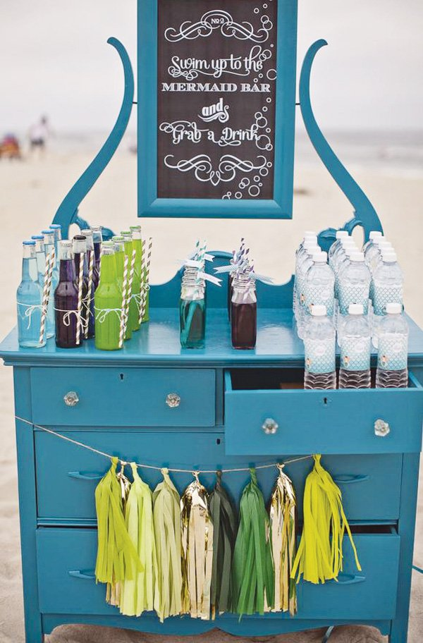 beachy mermaid drink station