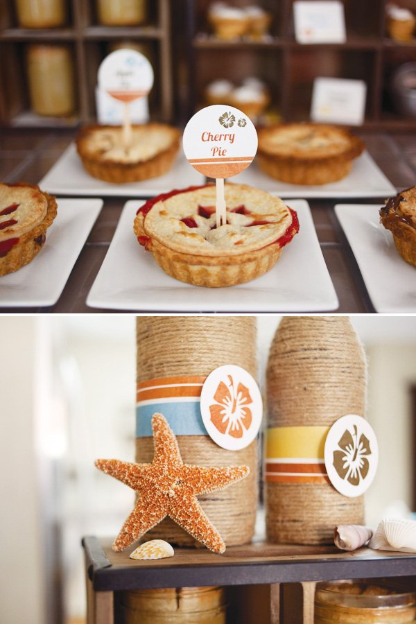 mini pies for a surf theme baby shower