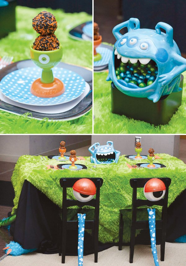 kids halloween monster party with monster tablescape