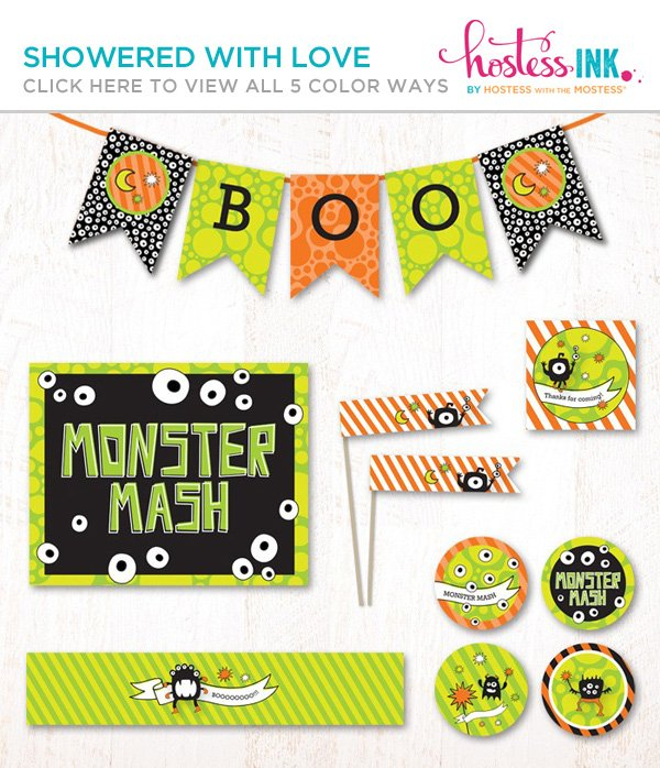 monster mash halloween party printables collection on hostess ink