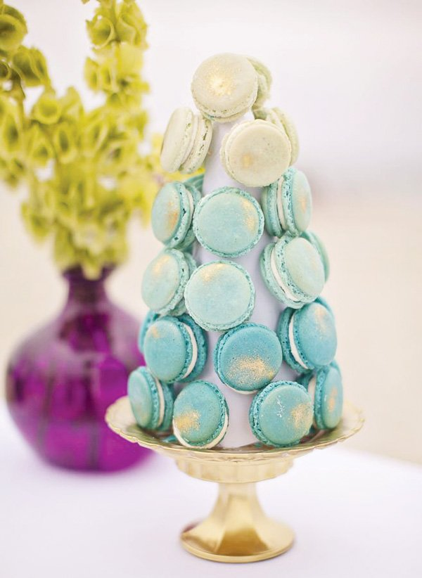 ombre blue macaron tower