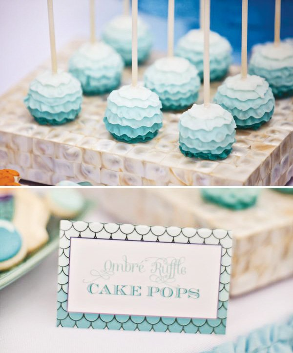 ombre blue ruffle cake pops