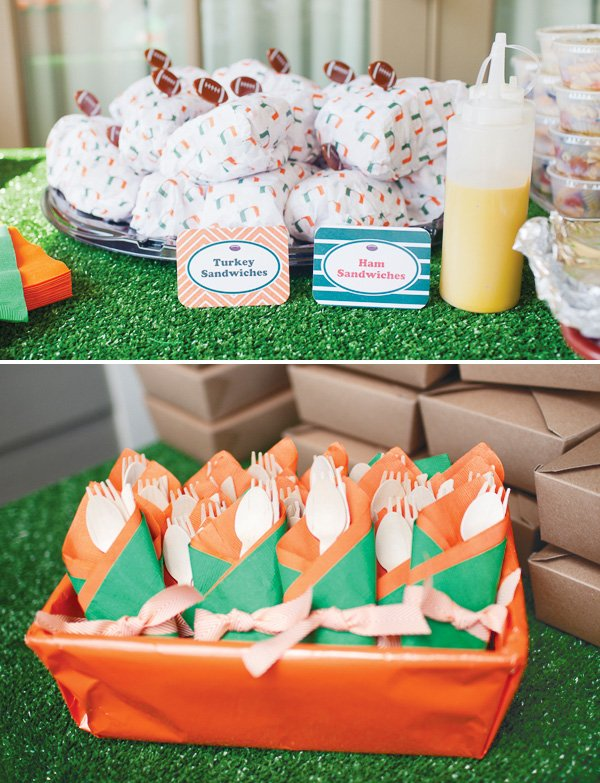 orange and green team football color utensils