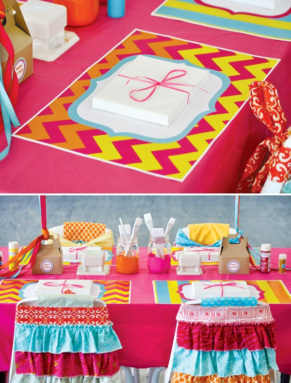 pink chevron placemats