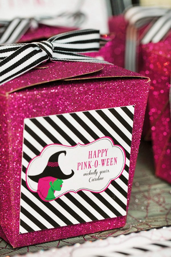 glittery pink favor boxes - pink halloween party