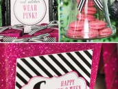 pink halloween party favor boxes and pink macarons