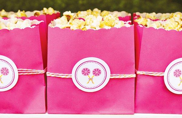 pink popcorn bags