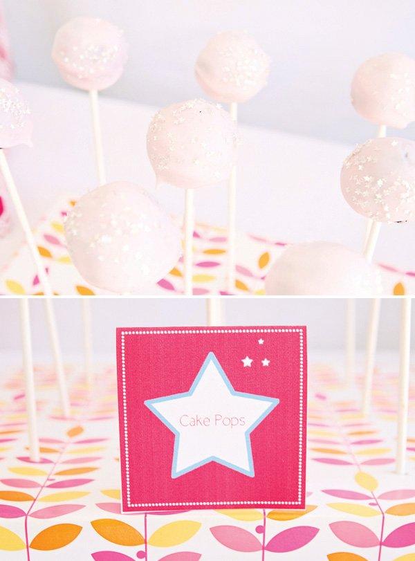 pink star cake pops