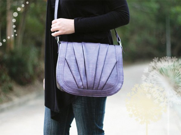 purple camera bag