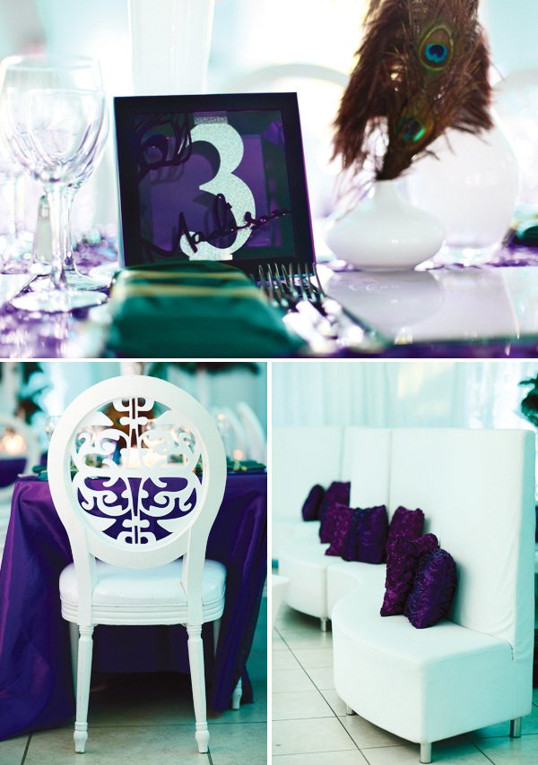 purple and white tablescape