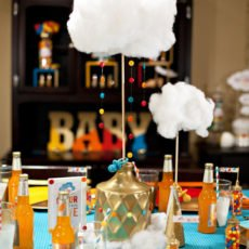 retro rainbow baby shower