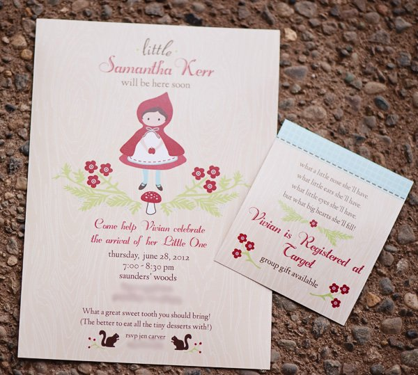 red riding hood baby shower invitation