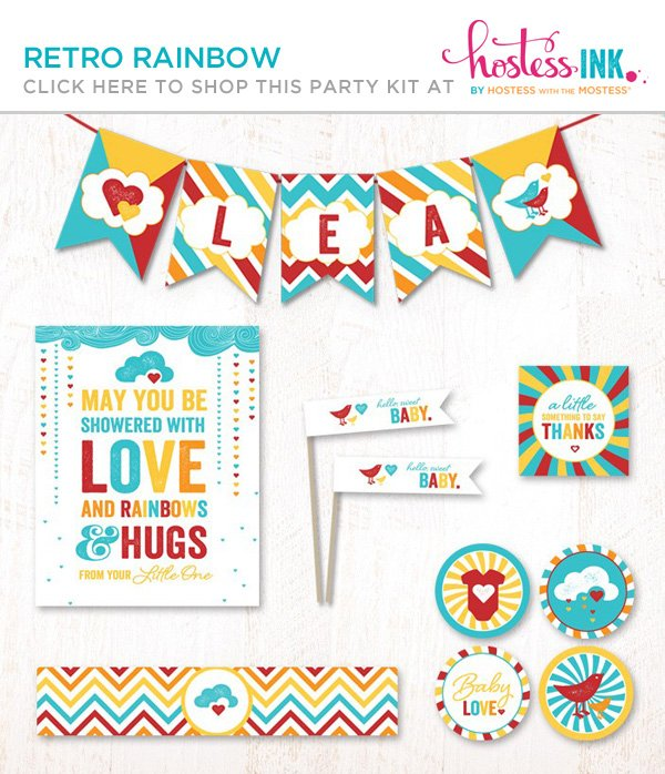 retro rainbow gender neutral baby shower party collection on hostess ink