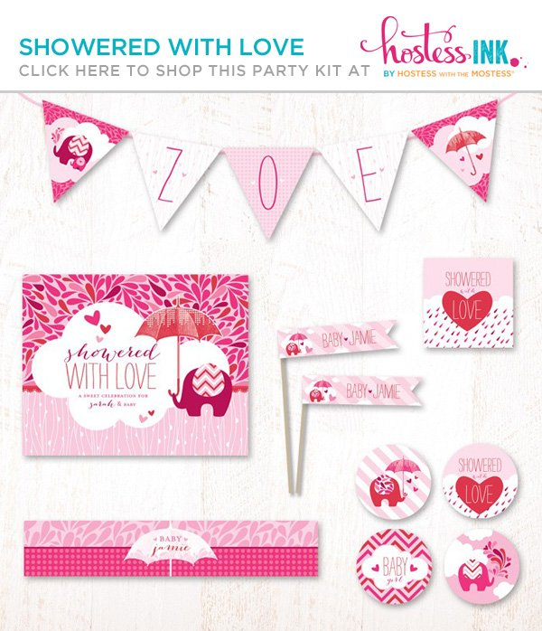 showered with love pink girl's baby shower party printables collection from hostess ink