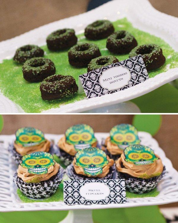 skull cupcakes for a halloween dessert table