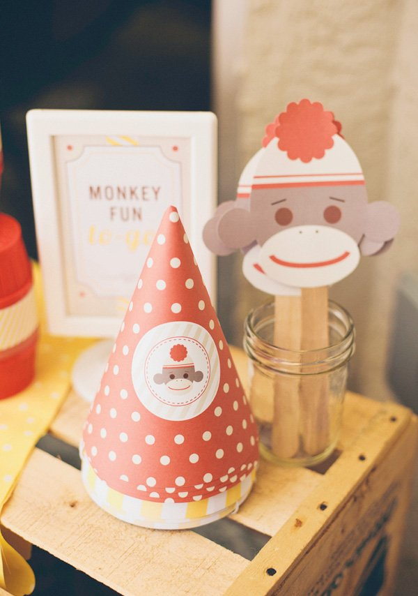 sock monkey party hats